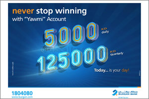 ''Burgan Bank Announces Names of the Daily Lucky Winners of Yawmi Account Draw''