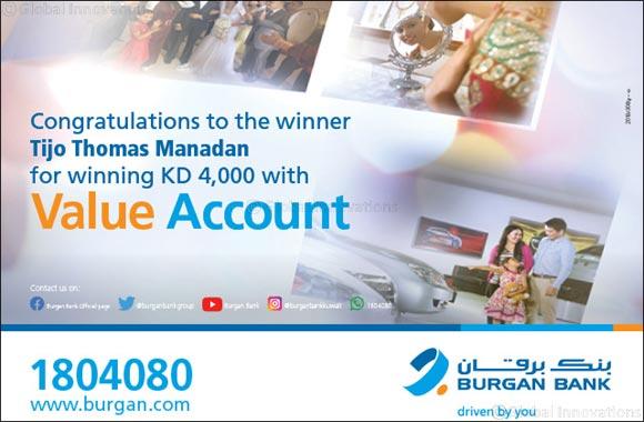 TIJO THOMAS MANADAN Wins KD 4000 in Burgan Bank's Value Account Draw