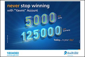 Burgan Bank Announces Names of the Daily Lucky Winners of Yawmi Account Draw=