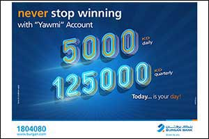 Burgan Bank Announces Names of the Daily Lucky Winners of Yawmi Account Draw -